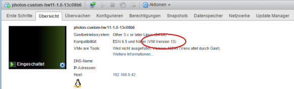 Die virtuelle Hardware der Photon-VM lässt sich jedoch problemlos mit VUM aktualisieren.