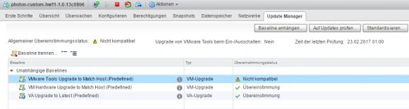 Die open-vm-tools in der Photon-VM lassen sich nicht über VUM aktualisieren.