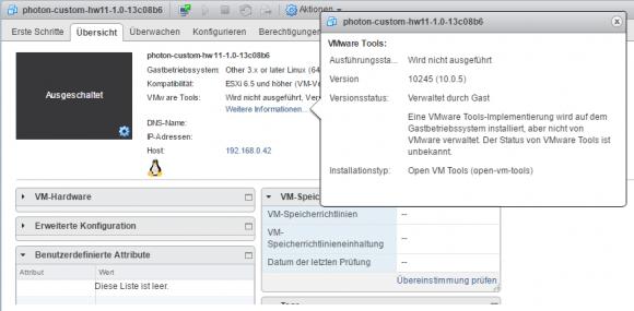 Die Open VM Tools werden nicht durch vSphere, sondern durch den Gast verwaltet.