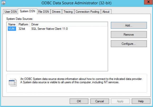 Der vSphere Update Manager unter Windows benötigt einen 32-Bit-DSN für ODBC.