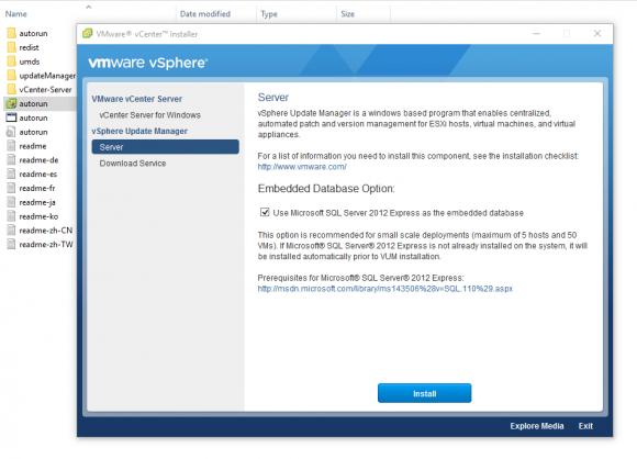 Der Installations-Assistent bietet die Auswahl von SQL Server Express, wenn man ihn über autorun startet.