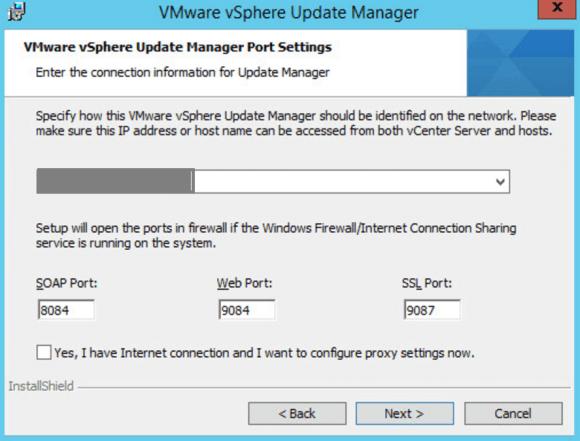 Konfiguration der Netzwerk-Ports bei der Installation von VUM für Windows.