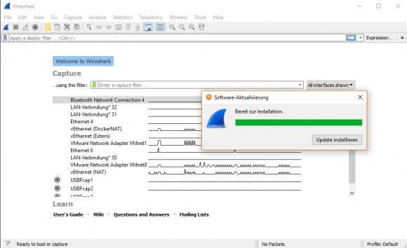 Wireshark aktualisiert sich über einen Auto-Updater