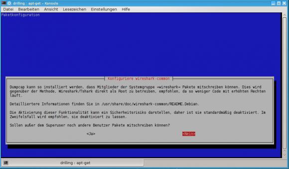 Entscheiden, ob Wireshark nur von root oder auch von anderen Benutzern verwendet werden darf.