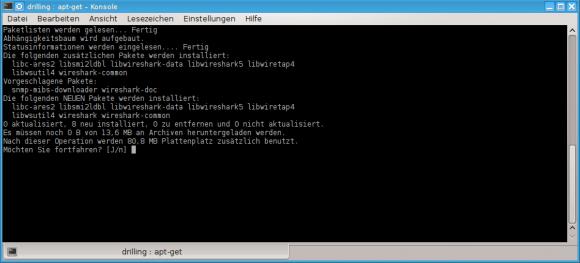 Wireshark über apt-get unter Debian hinzufügen