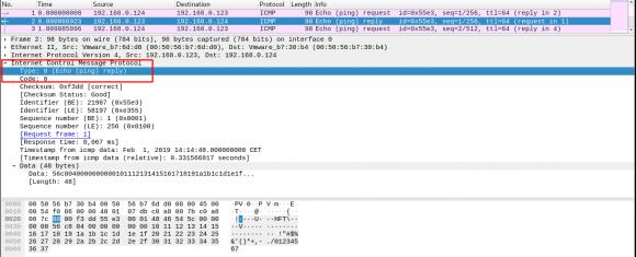 Wenn der ICMP-Typ im Layer-4-Header 0 ist, dann liegt ein echo -reply (ping) vor.