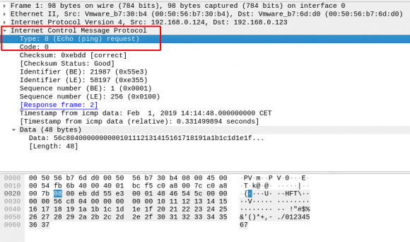 """ICMP Typ 8 steht für """"echo-request"""" (ping)"""