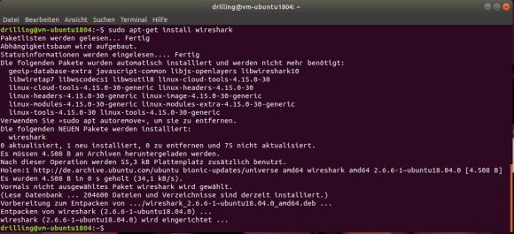 Installation von Wireshark unter Ubuntu 18.04 mit apt-get