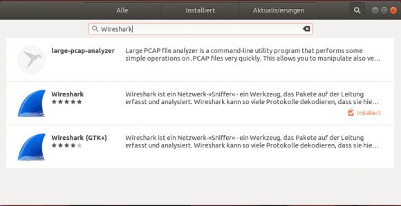 Wireshark über die grafische Paketverwaltung von Ubuntu hinzufügen