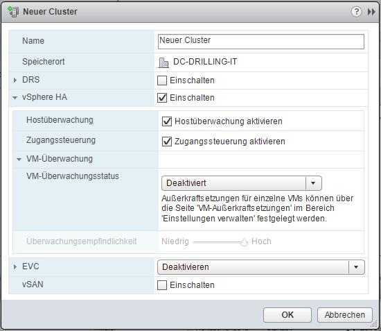 Der Assistent zum Erstellen eines HA-Cluster aktiviert automatisch die Host-Überwachung.