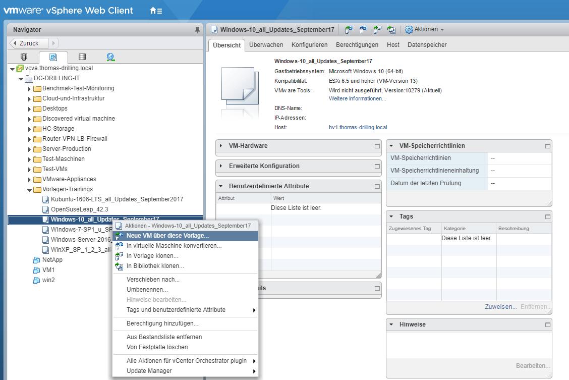 VMware vSphere: VMs aus Vorlagen erstellen, mit Sysprep ...