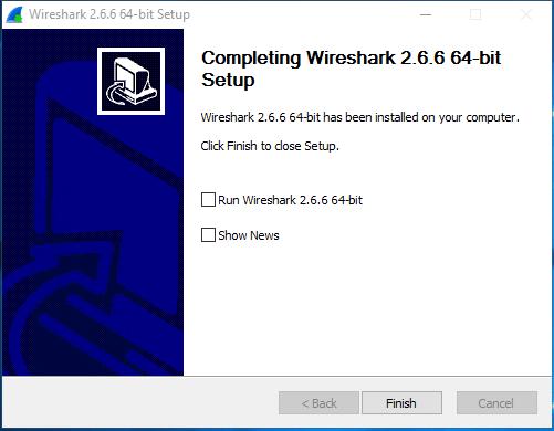 Erfolgreicher Abschluss der Wireshark-Installation