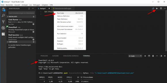 Programmcode mit Code Runner ausführen