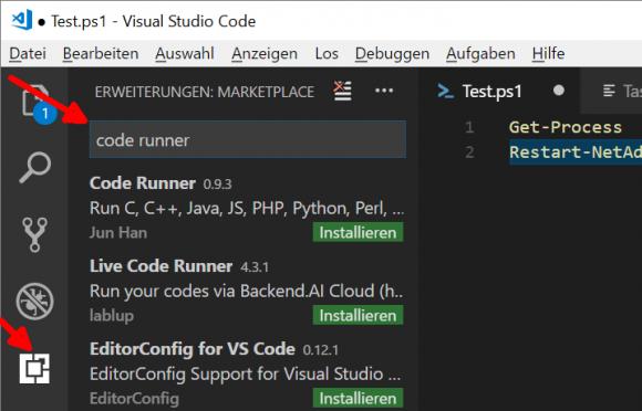 Code Runner für VSCode installieren