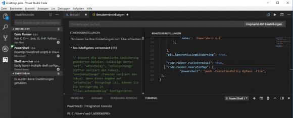 Konfiguration von Code Runner anpassen über die Benutzereinstellungen