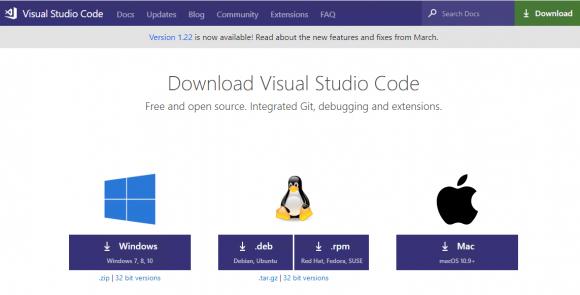 Download von VSCode für die verschiedenen Plattformen