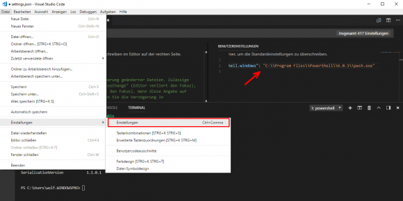PowerShell Core 6 als Standard für das Terminal konfigurieren