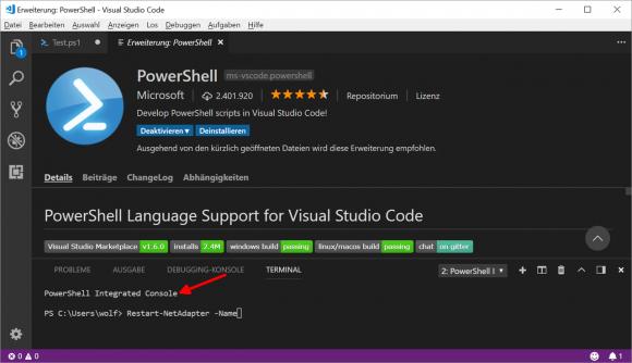 Die PowerShell-Erweiterung in VSCode bringt ein eigenes Terminal mit.