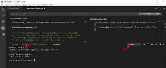 Nach der Änderung in den Einstellungen ist PowerShell Core für das Terminal vorgegeben.