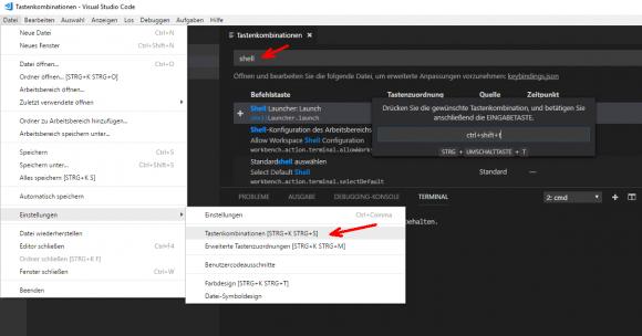 Tastenkombination für VSCode-Erweiterung Shell Launcher hinzufügen
