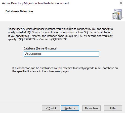 Eingabe der Datenbank bei der Installation von ADMT