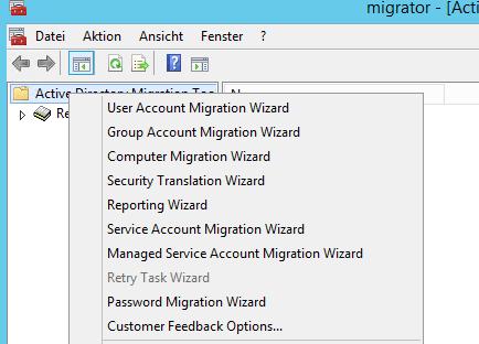 Wizards in ADMT zur Migration von AD-Objekten