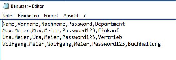 Beispiel für die Struktur einer CSV-DAtei für den Import in das Active Directory