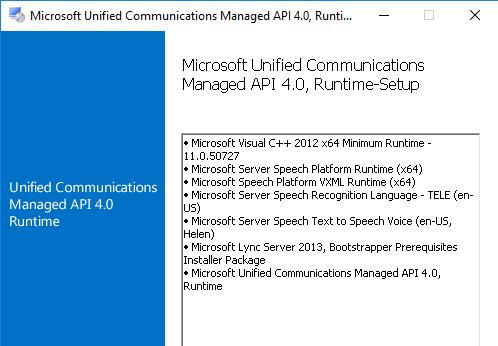 Das Unified Communications Management API gehört zu den weiteren Voraussetzungen für Exchange 2016.