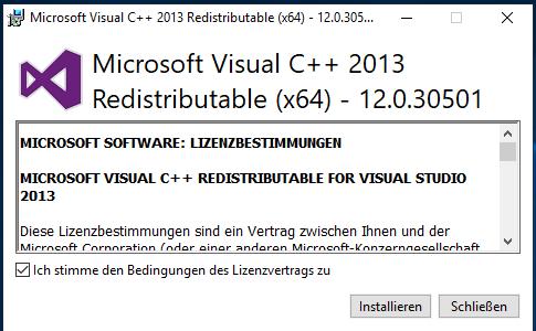 Microsoft Visual C++ Redistributable Package als Voraussetzung installieren
