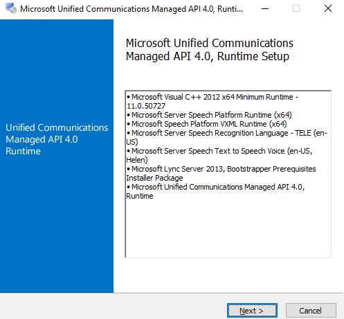 Hinzufügen der Unified Communications Managed API als weitere Voraussetzung