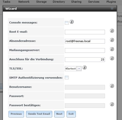 Konfiguration der E-Mail, um Benachrichtigungen empfangen zu können.
