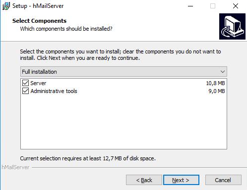 Auswahl der Komponenten von hMailServer, die installiert werden sollen.