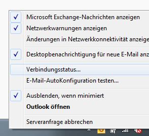 Das Outlook-Symbol Im System-Tray enthält den Befehl zur Anzeige des Verbindungsstatus.