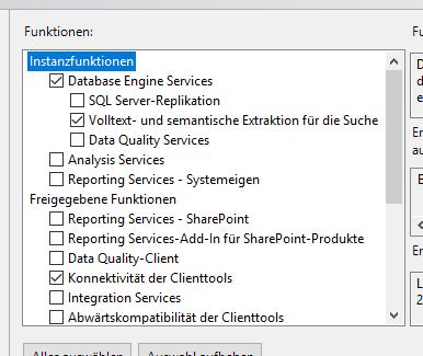 Auswahl der Funktionen von SQL Server, die installiert werden sollen