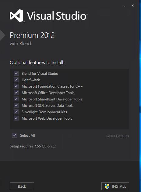 Installation von Visual Studio
