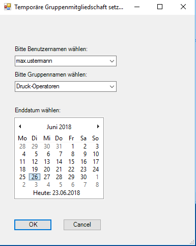 Auswahl des Datums, zu dem die temporäre Mitgliedschaft ablaufen soll.
