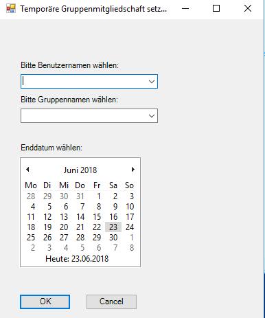 PowerShell-GUI zum Eintragen einer temporären Mitgliedschaft in AD-Gruppen.