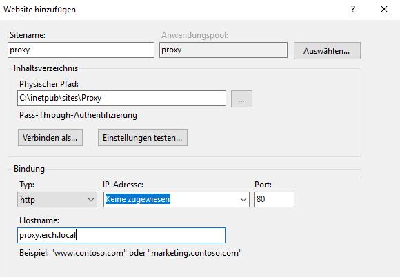 Neue Website für den Proxy-Server im IIS-Manager hinzufügen