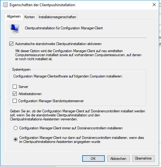 Automatische Installation des SCCM-Clients erlauben und den Typ der Zielsystem auswählen.