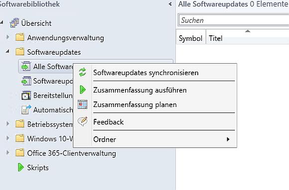 Starten der Erstsynchronisierung von Updates