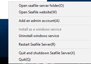 Konfiguration von Seafile über das Kontextmenü des S-Icons im System Tray.