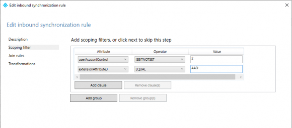 All accounts whose extensionAttribute3 contains the value 'AAD' are selected via the filter