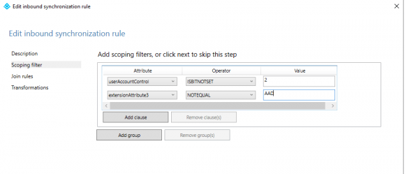 The filter should check whether the string 'AAD' is not contained in the extensionAttribute3.