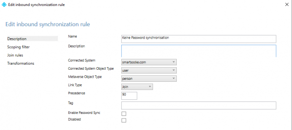 Create rule for those accounts whose password hash should not be synchronized to the cloud.