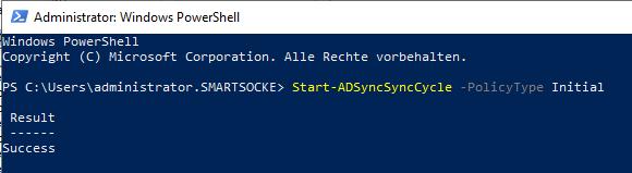 Initiate initial synchronization using the Start-ADSyncSyncCycle cmdlet