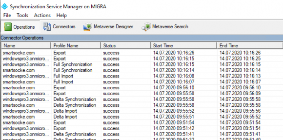 Monitor synchronization of password hashes in the Synchronization Service Manager