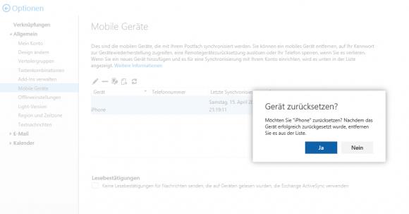 iPhone zurücksetzen und Daten löschen mittels ActiveSync