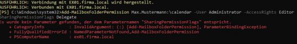 Add-MailboxFolderPermission kennt unter Exchange 2019 den Parameter SharingPermissionFlags nicht.
