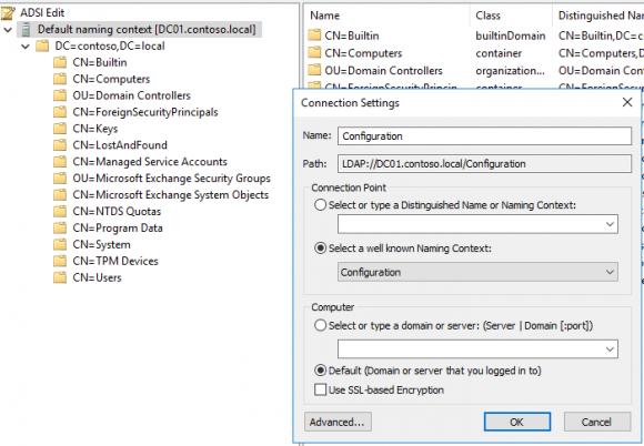 ADSI-Editor bei Configuration öffnen