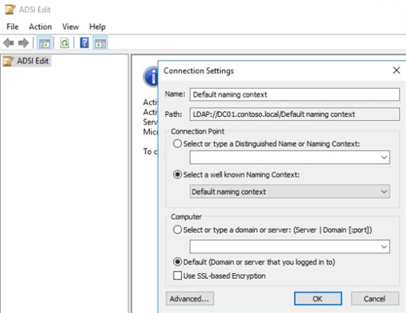 ADSI-Editor bei Default Naming Context öffnen